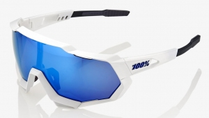 Okulary 100% SPEEDTRAP White Blue Mirror